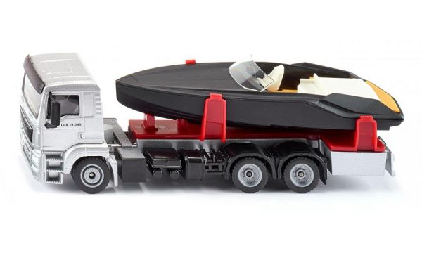 SIKU Schwertransport mit Yacht Kinder LKW Fahrzeug Transporter Spielzeug NEU