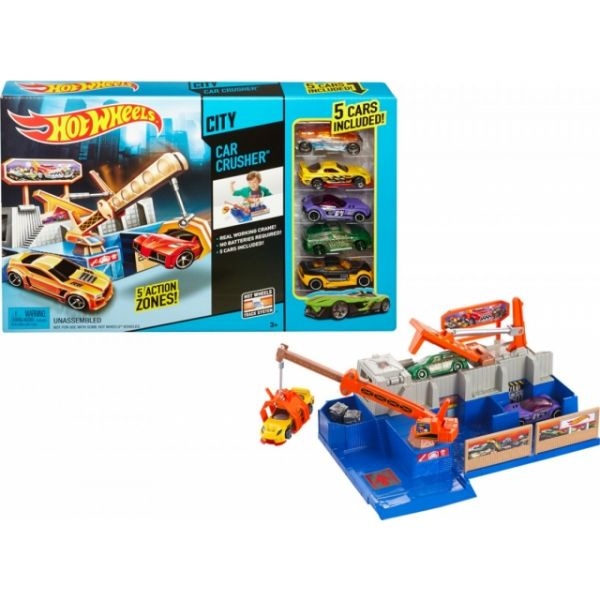 Hot Wheels Car Crusher Trackset & 5 Autos